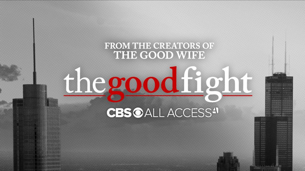 "A city skyline promotional image for ""The Good Fight"" on CBS All Access."