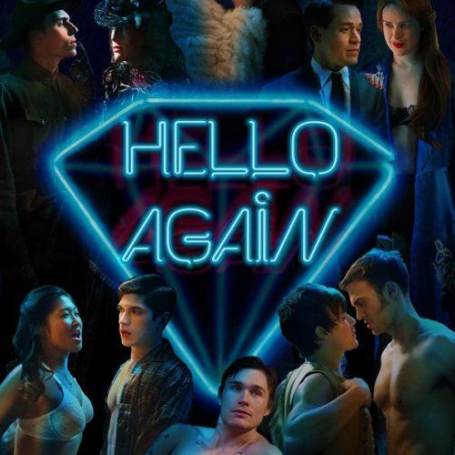 "The album cover of the soundtrack for ""Hello Again"" featuring scenes from the movie."