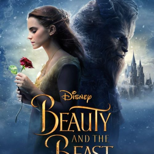"A poster for ""Beauty and the Beast"" featuring Belle holding a rose and the beast, with a castle in the background."